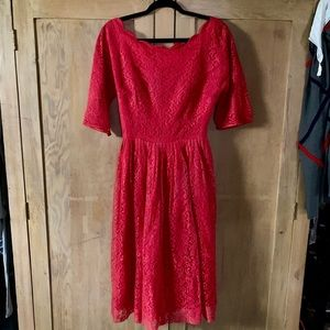 1950s VINTAGE red lace dress